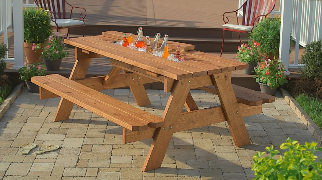 picnic table with cooler built in 2
